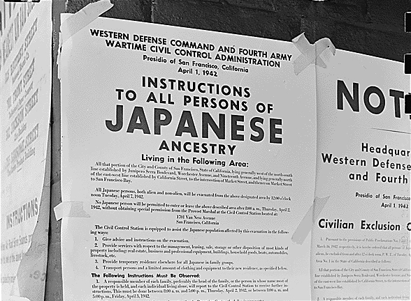 Japanese internment instructions from WWII